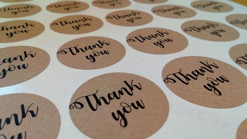 35mm 'Thank you' Kraft Sticker
