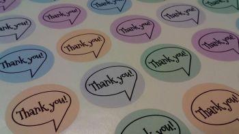 35mm 'Thank you' speech bubble Sticker