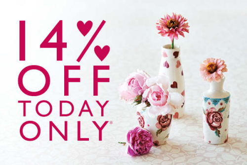14% off at Emma Bridgewater's website on Valentine's Day 2016 only