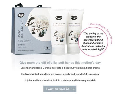 £5 off this Organic Limited Edition Hand Care Gift Collection from Green People