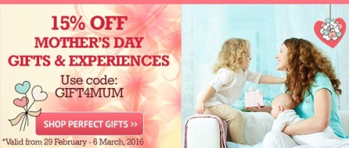 15% off Mother's Day gifts and experiences from Buy a Gift