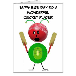 Zazzle.co.uk have a big range of cricket greeting cards and postcards