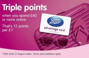 Get triple points when you spend £40 or more online this August bank holiday weekend