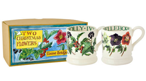Winter Flowers Set of 2 1/2 Pint Mugs
