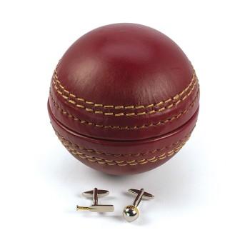 Cricket Ball Cufflink Box with Cufflinks