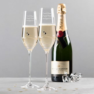 Engraved Set Of Two Swarovski® Crystal Champagne Flutes - Swirls