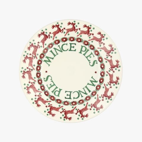 "Reindeer Border 8 1/2"" Mince Pie Plate"