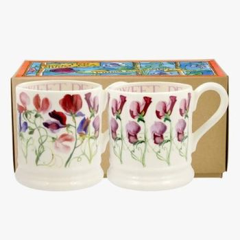 Sweet Pea Flowers Set of 2 1/2 Pint Mugs Boxed from Emma Bridgewater