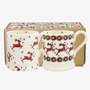 Red Reindeer Set of 2 1/2 Pint Mugs Boxed