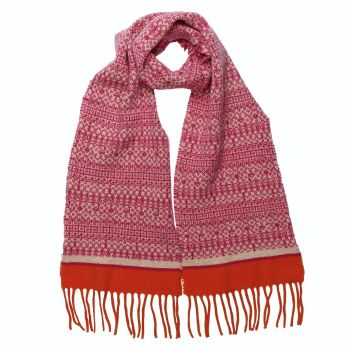 Pink and orange woollen tassel scarf