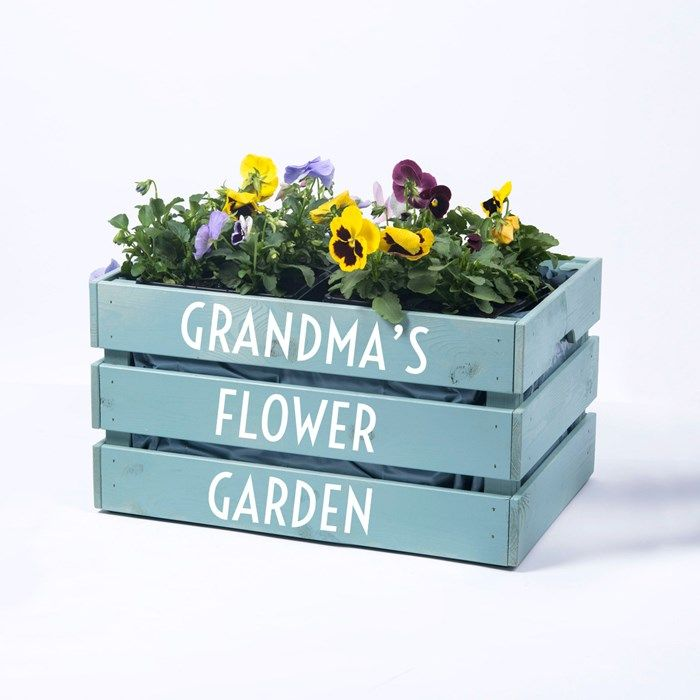 Personalised Large Wooden Crate – Any Message Planter