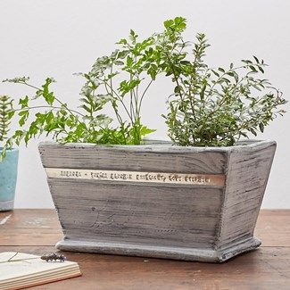 Personalised Whitewashed Wood Pot Planter
