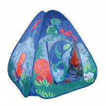 A dinosaur cave pop up tent