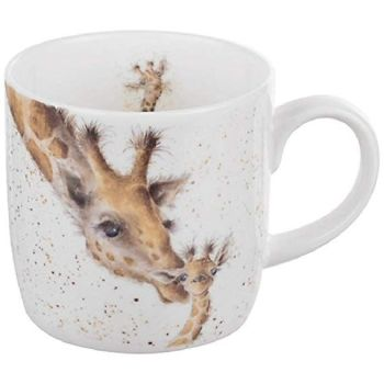 A touching giraffe mug