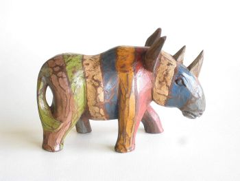 Wooden Hand Carved & Decorated Rustic Rhino 20cm