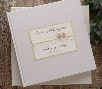 CreativeBridal Personalised Wedding Photograph Album. Lace & Rose Photo Album. Wedding Album.