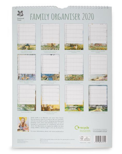 The National Trust Family Organiser 2020 has room to put important family dates in