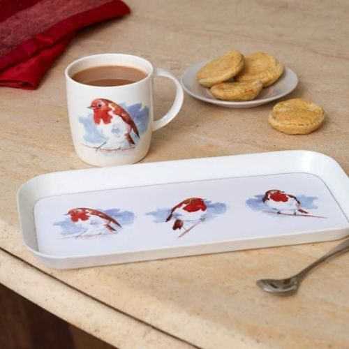 Robin mug and tea tray