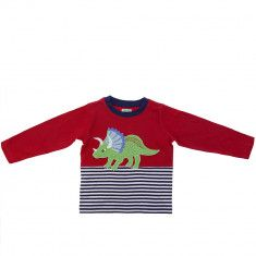 Lilly and Sid red stripy Triceratops applique top for kids