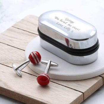Cricket Ball Cufflinks Gift Set