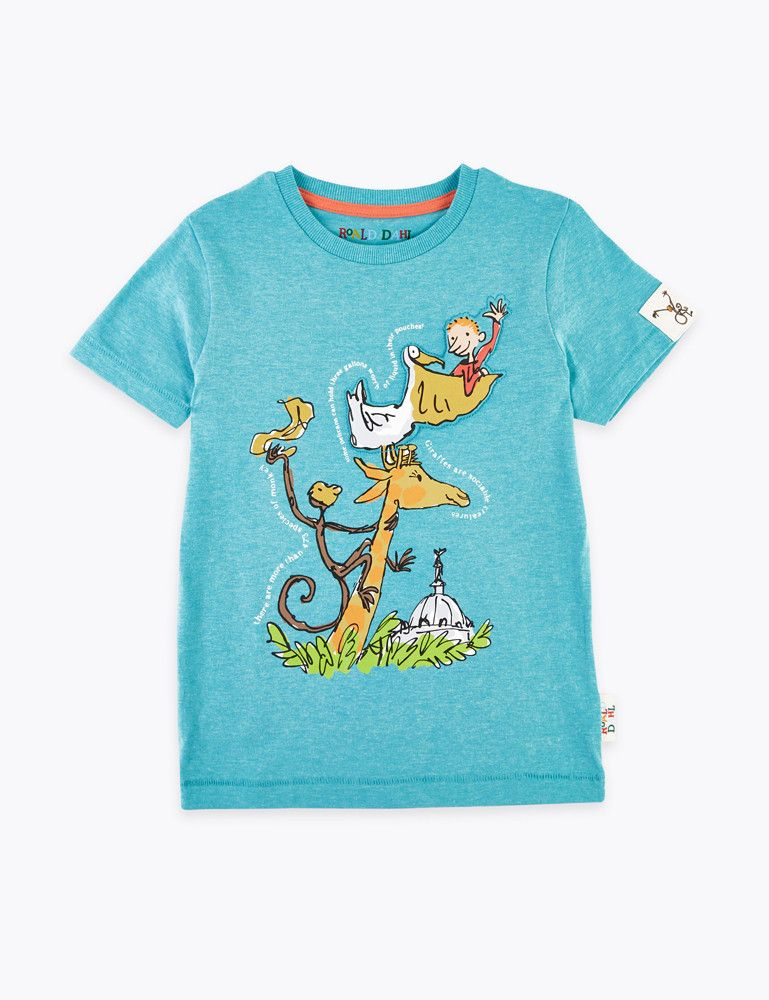Roald Dahl teal pelican, monkey and giraffe t-shirt