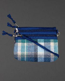Blue Tweed Pouch Bag
