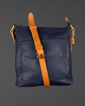 Navy Leather Crossover Bag With Thistle Lining