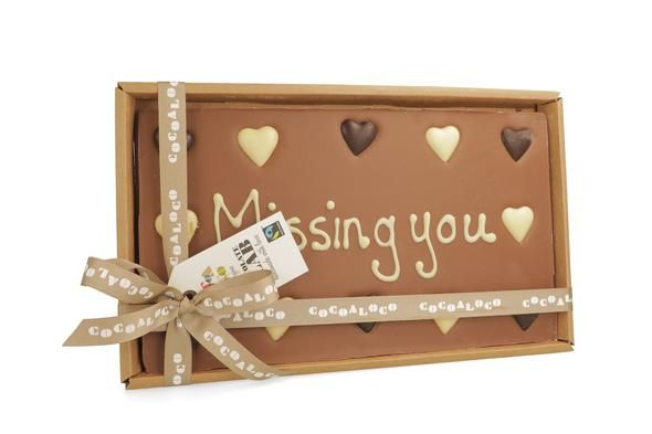 There's this touching Missing You 600g bar of chocolate