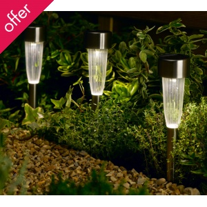 These Smart Solar Fluted Stake Light Nights are on offer - a pack of 10 for £22.49 instead of £29.99