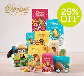 Tuck into Feel good this Fairtrade fortnight with a fantastic 25% off fabulous Divine Chocolate and Easter eggs with Natural Collection