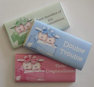 Twins (blue, pink or green available) - milk chocolate bar 40g