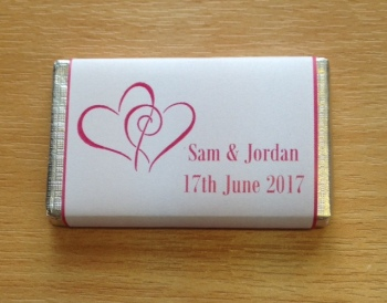 HEARTS ENTWINED (hot pink - mini 10g chocolate favour