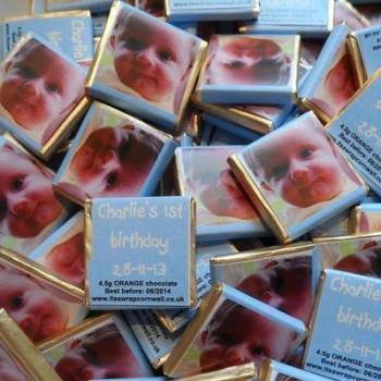 BABY BOY PHOTO - mini 4.5g chocolate favour