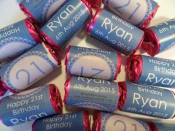21ST BIRTHDAY (BLUE) - love hearts (2 sizes)