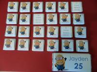 MINIONS ADVENT (24 mini squares and 1 x 40g large bar) in christmas organza bag