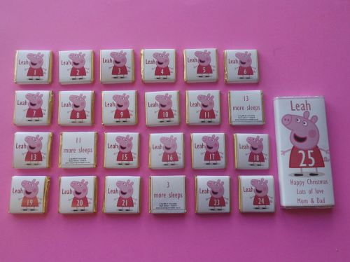 PEPPA PIG ADVENT (24 mini squares and 1 x 40g large bar) in christmas organza bag