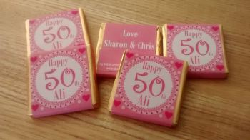 50TH BIRTHDAY (PINK) - mini 4.5g chocolate favour