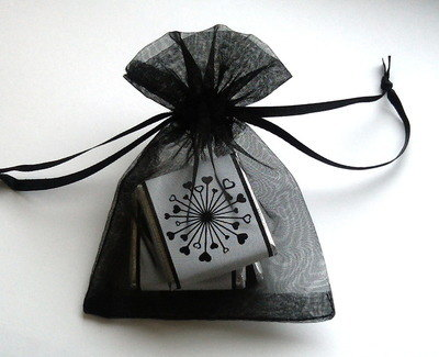 BLACK ORGANZA BAG with 3 MINI CHOCS (any wrapper design)