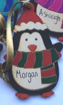 PENGUIN personalised tree decoration (RED & GREEN)