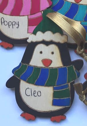 PENGUIN personalised tree decoration (GREEN & BLUE)