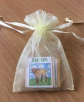 BROWN LAMB choc organza gift bag