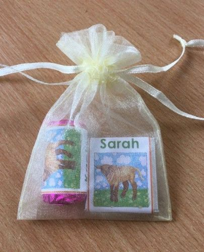 BROWN LAMB mixed organza gift bag