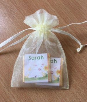 LAMB WITH CHICKS choc organza gift bag