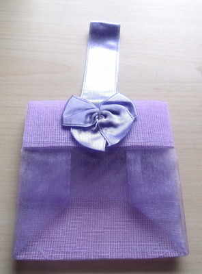 LAVENDER ORGANZA TOTE BAG (bag on own)
