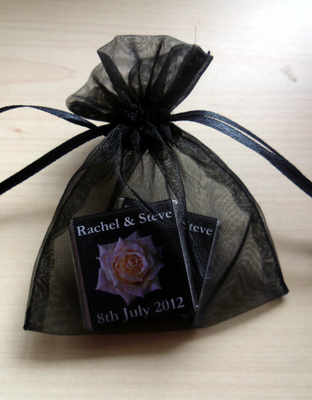 BLACK ORGANZA BAG with 2 MINI CHOCS (any wrapper design)