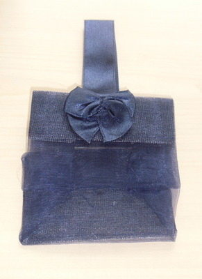 NAVY ORGANZA TOTE BAG (bag only)