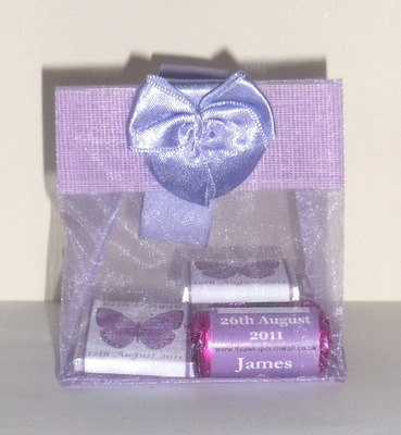 LAVENDER ORGANZA FILLED TOTE FAVOUR (mini chocs & love hearts inside with bubbles as optional extra)