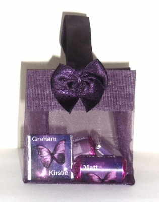 PURPLE ORGANZA FILLED TOTE FAVOUR (mini chocs & love hearts inside with bubbles as optional extra)