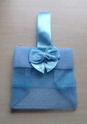 LIGHT BLUE ORGANZA TOTE BAG (bag only)
