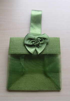 MOSS GREEN ORGANZA TOTE BAG (bag only)